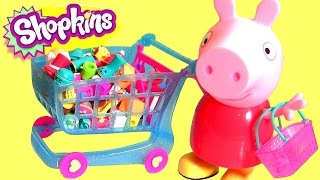 Shopkins Shopping Cart Season 3 Push 'n Play NEW 2015 with Peppa Pig & Basket Toy Surprise