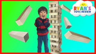 GIANT JENGA Wooden Tumbling Tower game for kids!