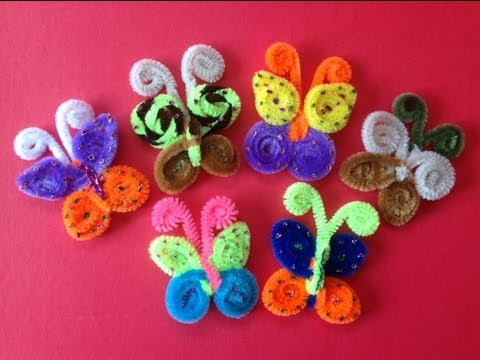 MARIPOSAS HECHAS CON LIMPIA PIPAS. Butterflies made with pipe cleaners .