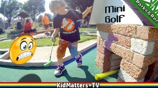 KIDS play MINI GOLF ADVENTURE with FAMILY. Miniature Golf Let's play for real! [KM+Parks&Rec S02E06]