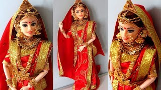 Barbie BENGALI saree draping   Indian bridal doll and jewellery   Drape a perfect saree for barbie