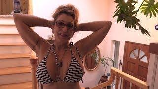 Bikini MILF Mom 55 - Washing the Stairs