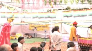 A band of musicians and dancers, Mahavir Jayanti