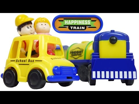 Tracks with Hanging Bridge Set Happiness Train & Shcool Bus Toys VIDEO FOR CHILDREN