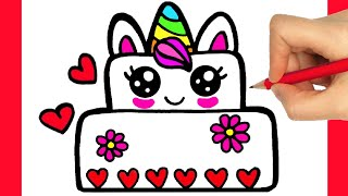 HOW TO DRAW BIRTHDAY CAKE UNICORN