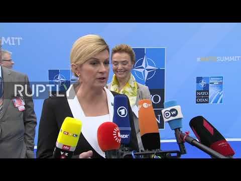 Xxx Mp4 Belgium We Ll Win On Sunday Croatian Pres Arrives For NATO Summit Following Juncker Macron 3gp Sex