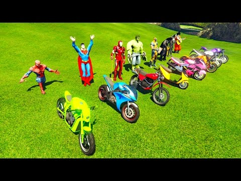 COLOR MOTORCYCLES learning for kids and children with superheroes Funny jumping!