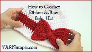 Download How to Crochet a Ribbon and Bow Baby Hat 3Gp Mp4