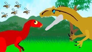 Dinosaurs Cartoons for kids - Dinosaurs and Bee   Angry Allosaurus. GreenSpino