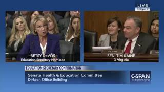 DeVos Cannot Answer Sen  Kaine's Yes or No Questions