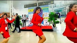 Beautiful Air Hostess dance in airport must watch !