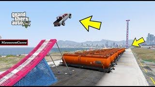 القفز من فوق شاحنات تتوقع يقدرون السيارات القفز !! قراند 5 GTA V