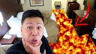 FLOOR IS LAVA CHALLENGE IN A HOTEL!!!! (KICKED OUT)