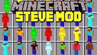 Minecraft STEVE MOD!   SPAWN GREEN STEVE, RED STEVE, BLUE STEVE & MORE!!   Modded Mini-Game