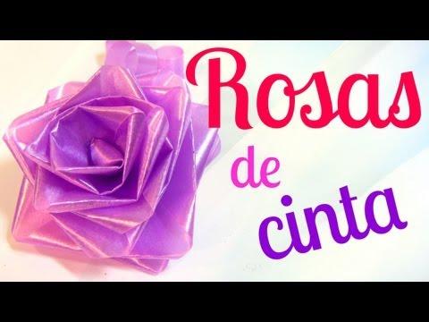 Cómo hacer rosas de cinta lazos moños para regalo .