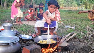 Special Egg Pulse Boilded Recipe Cooking   Village Kids Picnic - Cooking Into Nature