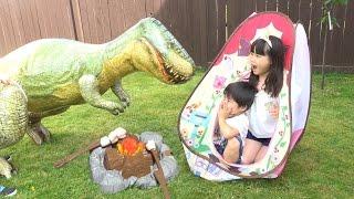 恐竜 出現!!! ぽぽちゃん おうち キャンプ ねんど で キャンプファイヤー dinosaur Play Doh Campfire Picnic