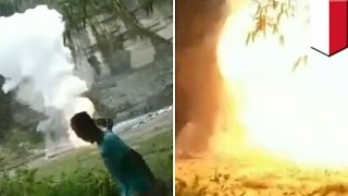 Massive fireworks accident damages 56 homes when Indonesian police dispose of 287kg pile - TomoNews