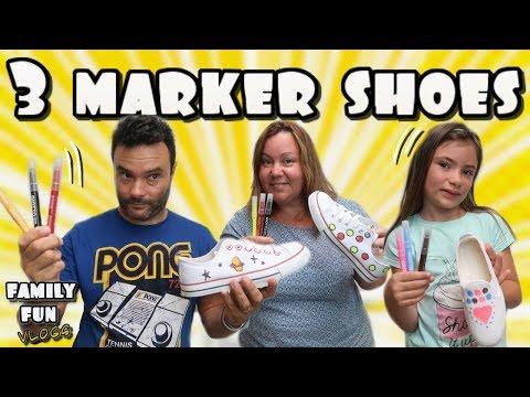 3 Marker Shoes Challenge en familia Family Fun Vlogs