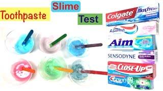 Toothpaste Slime Test With Colgate,Aquafresh,Aim,Sensodyne,Close up and Crest!