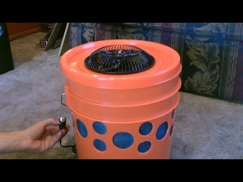 Homemade Evap. Air Cooler The 5 Gallon Bucket Swamp Cooler DIY can be solar powered