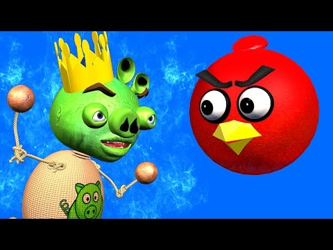 BUDDYMAN KICK & ANGRY BIRDS Kick The Pig ♫ 3D animated movie mashup ☺ FunVideoTV Style ;