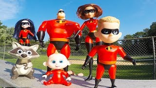 Incredibles Family School Playground with Baby Jack Jack Slide and Swings - Episode 10