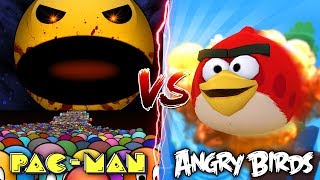 Minecraft PACMAN VS ANGRY BIRDS!! - PACMAN KILLS AND EATS ALL THE ANGRY BIRDS!! - Donut the Dog