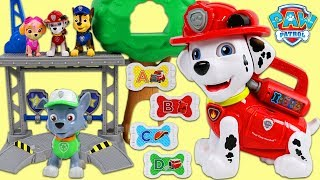 Paw Patrol Rocky Learns the Alphabet with Treat Time Giant Marshall Playset!