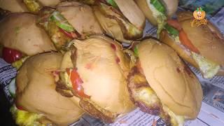 Making Village Burger- Egg Omelette Inside