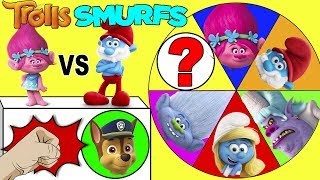 Smurfs Movie vs Trolls Mega Wheel Game - Papa Smurf and Poppy Spin the Wheel | Ellie Sparkles