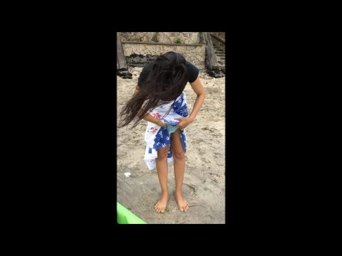 How a Girl Changing Underwear on open Beach (watch till finished)
