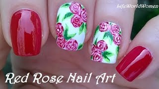 ROSE NAIL ART - Pretty Red Floral Nails For Spring & Summer