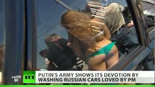 Scantily-clad girls in Putin