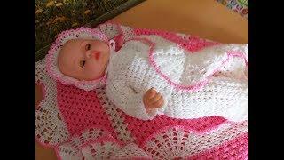 Вязанный комплект для новорожденных с спицами 41