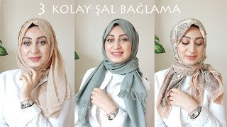 Pratik Şal Bağlama,2 Dakikada 3 Model | Hijab Tutorial