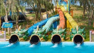 Dreamland Aqua Park - Twisting Dragons   Twister Racer Water Slide Onride POV