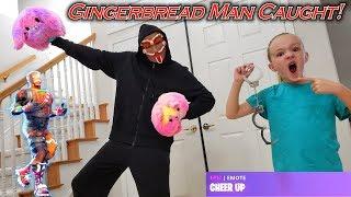 Gingerbread Man GM Caught & Locked Up! We Make Him Do Fortnite Dances!!!