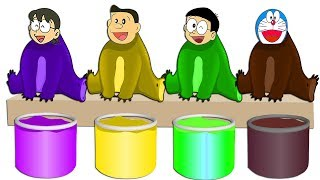 Learn Colors with Doraemon Nobita Nobi Nobisuke HEADS BEAR Colored and Paint Tanks for Kids Songs