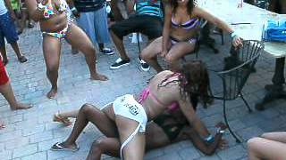 Two gril's getting it on at pool party