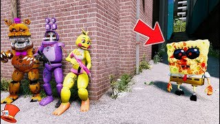 CAN THE ANIMATRONICS HIDE FROM SPONGEBOB.EXE? (GTA 5 Mods For Kids FNAF RedHatter)