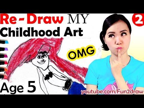 NEW Art vs OLD Art Re Draw Colour My Childhood Art Work Fun Art Video