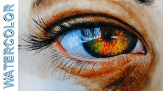 How to Paint a Realistic Eye - Watercolor painting for beginners tutorial -by Nihar Debnath