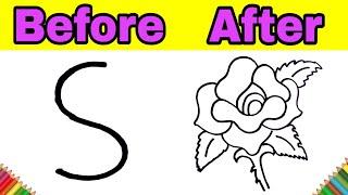 गुलाब का फूल बनाने का सबसे आसान तरीका / HOW TO DRAW ROSE FLOWER FROM S LETTER STEP BY STEP EASY DRAW
