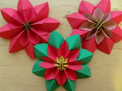How to fold a poinsettia flower origami