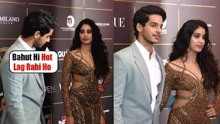 Ishaan Khattar FLIRTS with Janhvi Kapoor in Front of Media at Red Carpet Of Vogue Awards Night 2018