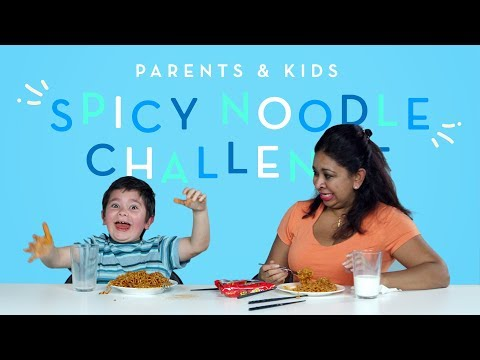 Parents & Kids Try the Spicy Noodle Challenge Kids Try HiHo Kids
