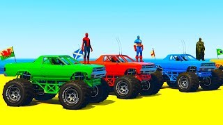 COLOR OFFROAD TRUCK & FUN MONSTER TRUCK - Superheroes Cars Cartoon and Colors for Kids