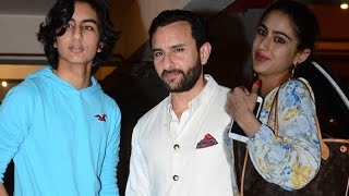 Saif Ali Khan poses with son Ibrahim Khan while Daughter Sara Khan dodges media | SpotboyE