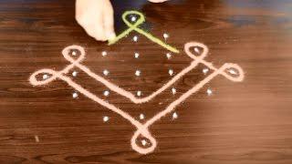 neli kolam with dots - sikku kolam - melikala muggulu - easy pulli kolam with 7 dots